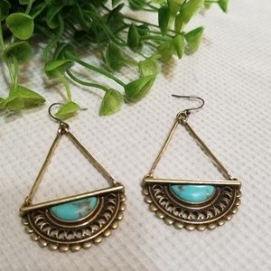 Lucky Brand Drop Antique Gold Tone Earrings